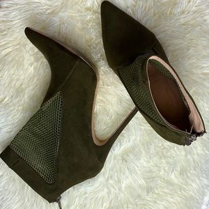 Olivia Ferguson Faux Suede Army Green Booties 10